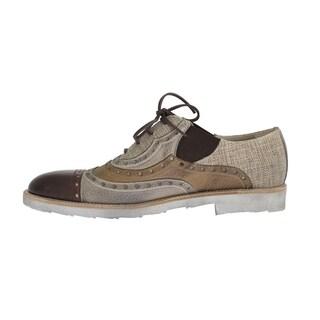 Dolce & Gabbana Beige Leather Raffia Wingtip Shoes - eu44-us11