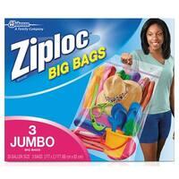 Ziploc 65645 Jumbo Storage Bag, 2' x 2.7', XXL, 3/Box
