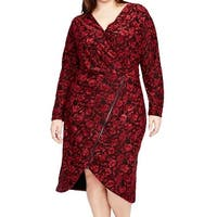 RACHEL Rachel Roy Red Women Size 1X Plus Floral Velvet Sheath Dress