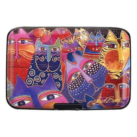 Laurel Burch Cats and Dogs Wallets - Decorative Aluminum RFID Protection Case for Credit Cards, Money - Cat - One size