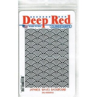 Deep Red Stamps Japanese Waves Background Rubber Cling Stamp - 3 x 4