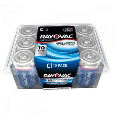 Rayovac 814-12PP C-Cell Alkaline Battery, 12 Pack