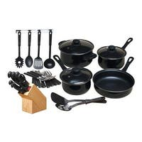 Gibson - 64269.32 32 Piece Nonstick Cookware Set, Black
