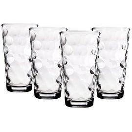 Palais Glassware Cercle Collection; High Quality Clear Glass Set with Circle Design (Set of 4 - 17 Oz Highballs, Clear)