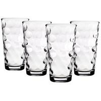 Palais Glassware Cercle Collection; High Quality Clear Glass Set with Circle Design (Set of 4 - 17 O