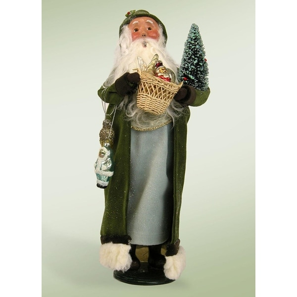 """13.5"""" Glittered Vintage Sage Santa with Frosted Christmas Tree and Basket Christmas Figure - green"""