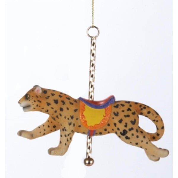 """4.25"""" Leopard with Carousel Pole and Saddle Christmas Figure Ornament - brown"""