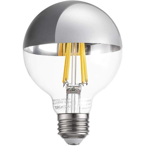 G25 Half Chrome Light Bulb, Warm White 3000K