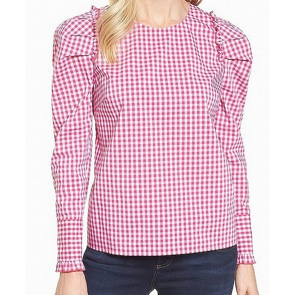 1b1f32d5127e Shop Halogen White Gingham Ruffled Women's Small Top Blouse - On ...
