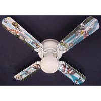 X-Games Motor cross Print Blades 42in Ceiling Fan Light Kit - Multi