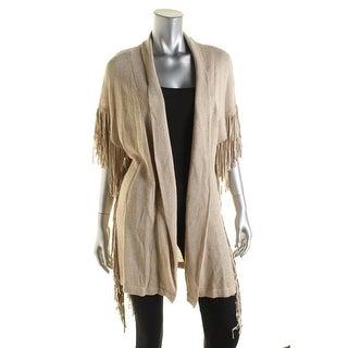 Moon & Meadow Womens Linen Fringe Cardigan Sweater - M