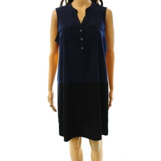 Alfani NEW Blue Black Women's Size 6 Colorblock Shift Shirt Dress