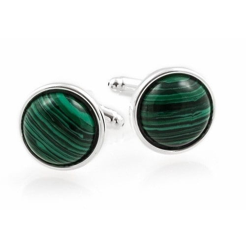Domed Malachite Cufflinks With Sterling Silver Plate Green