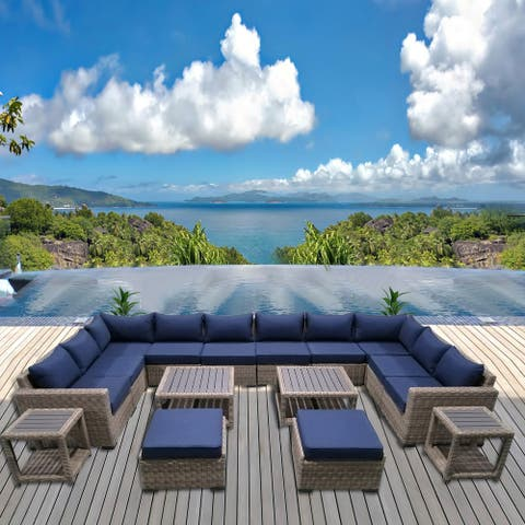 Patio8 Outdoor Sectional 16pcs Gray Wicker Patio Furniture Set