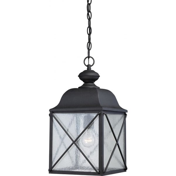 """Nuvo Lighting 60/5624 Wingate 1-Light 9-7/8"""" Wide Outdoor Mini Pendant with Seedy Glass Shade - Textured Black - N/A"""