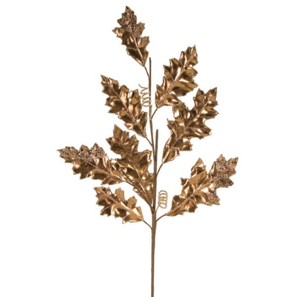 Pack of 6 Gold Metallic Polyester and Vinyl Holly Leaf Spray 30""