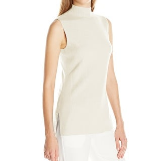 Calvin Klein NEW Green Women's Small S Ribbed Mock Neck Sweater Vest