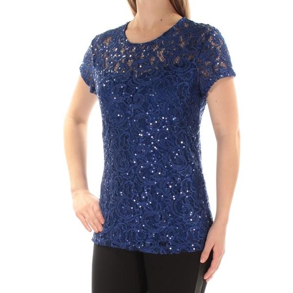 I-N-C Womens Sequin Basic T-Shirt