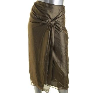 Burberry London Womens Silk Drape-Front Pencil Skirt - 2