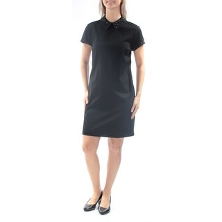 Womens Black Short Sleeve Above The Knee Wear To Work Dress Size: S