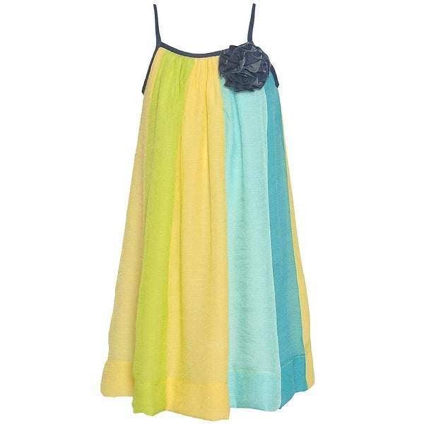 005180149ecaa Lele Girls Blue Yellow Vertical Stripe Pattern Flower Accent Dress