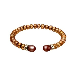 5 mm Chocolate Freshwater Pearl Bangle Bracelet with 14K Gold