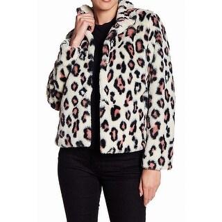 Abound NEW White Women's Size Medium M Faux Fur Leopard Print Jacket