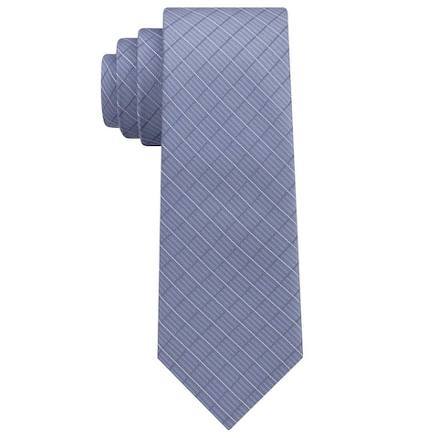 DKNY Men's Woven Open Block Grid Slim Tie Blue Silk