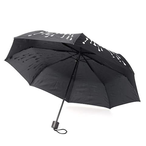 "Black Color Changing Raindrop Pattern Folding Umbrella (9.5 in) - 9.5"""