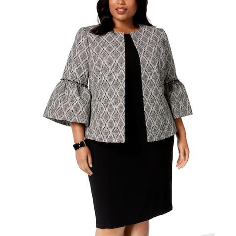 Kasper Women's Jacket Black Size 18W Plus Bell-Sleeve Jacquard