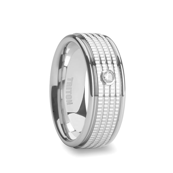 FALCON White Tungsten Wedding Band with White Diamond and Multi Coin Edged Center by Triton Rings - 7.5 mm