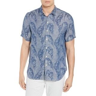 Tommy Bahama Blue Mens Size Large L Leaf Print Button Down Shirt