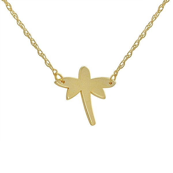 Amanda Rose 14k Yellow Gold Dragonfly Necklace
