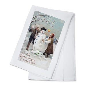 All Christmas Joy Be Yours Kids Making Snowman Scene - Vintage Holiday Art (100% Cotton Towel Absorbent)