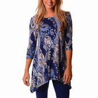 Indigo Tunic In Blue And Gold Paisleys