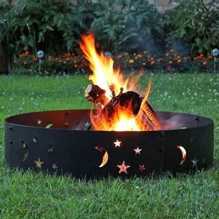 Sunnydaze 36-inch Black Metal Campfire Ring w/ Die-Cut Stars & Moons Modern
