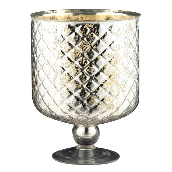 """10"""" Metallic Silver Snifter Design Table Top Glass Candle Holder - N/A"""