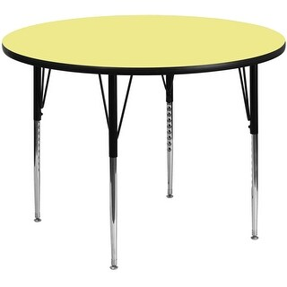 Fun & Games Activity Table 48'' Round Yellow Thermal Laminate Adj Height