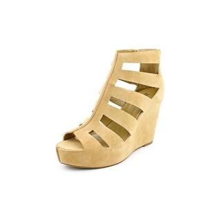BCBGeneration Torrez Women  Open Toe Leather Tan Wedge Sandal