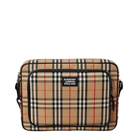 Burberry Marlon Vintage Check & Leather Messenger Bag - NoSize