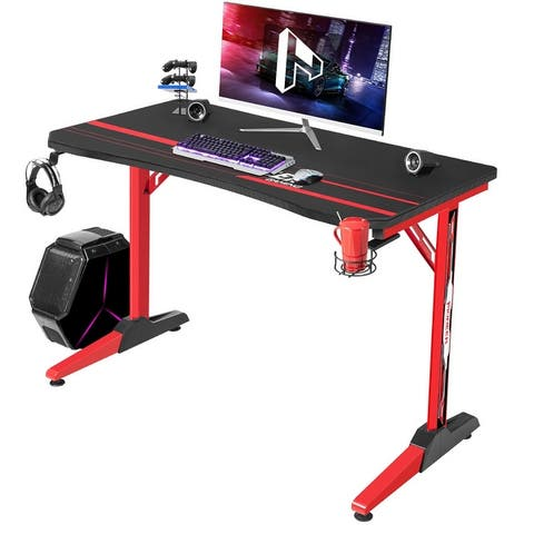 Homall T Shaped Gaming Desk Computer Desk Table with Cup Holder and Headphone Hook