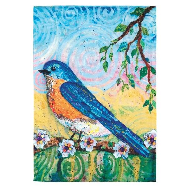 "Blue and Yellow Bluebird Printed Rectangular Garden Flag 18"" x 13"" - N/A"