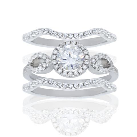 3-Piece Round-Cut Halo Cubic Zirconia Bridal Ring Set, Sterling Silver