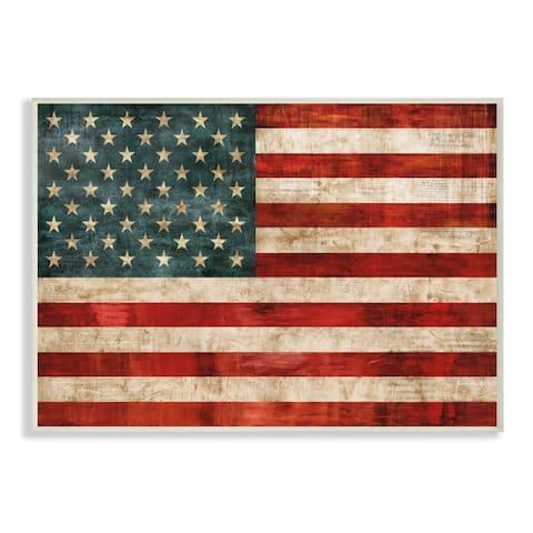 Stupell Industries US American Flag Wood Textured Design Wood Wall Art