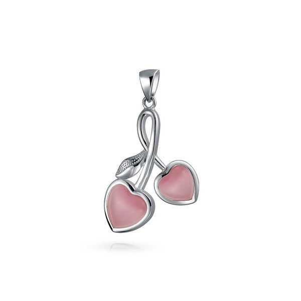 ecd99a08d Shop Double Hearts Cherry Pendant Pink Cats Eye 925 Sterling Silver 18 Inch  - On Sale - Free Shipping On Orders Over $45 - Overstock - 17988862