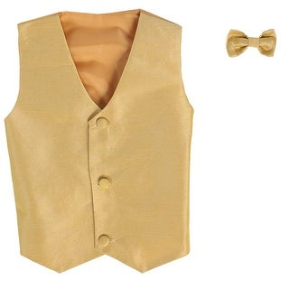 Little Boys Gold Poly Silk Vest Bowtie Special Occasion Set 2T-7