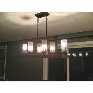 Top Product Reviews For The Gray Barn Vineyard Metal And Wood 6 Light Chandelier With Seeded Glass Shades 10379621 Overstock Com