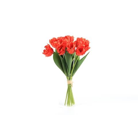 Beautiful Realistic Faux 15in Tulip Floral Arrangement Orange