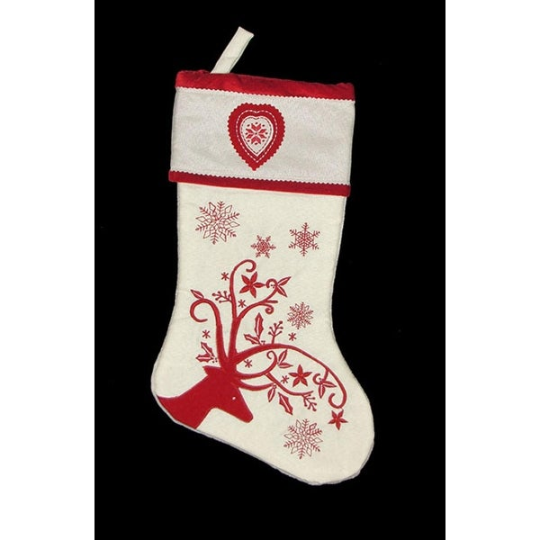 "17"" White Decorative Reindeer with Snowflakes and Heart Christmas Stocking - RED"