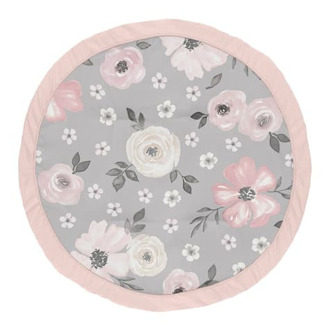 Grey Watercolor Floral Collection Girl Baby Tummy Time Playmat - Blush Pink Gray and White Shabby Chic Rose Flower Farmhouse